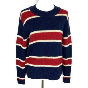 CECILIE Copenhagen Crewneck Sweater Size Small Wool Striped Red Blue